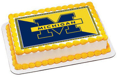 University of Michigan Edible Birthday Cake Topper OR Cupcake Topper, Decor