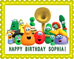VEGGIE TALES Characters 1 Edible Birthday Cake Topper OR Cupcake Topper, Decor