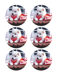 Valentine Puppy Dog - Edible Cake Topper, Cupcake Toppers, Strips