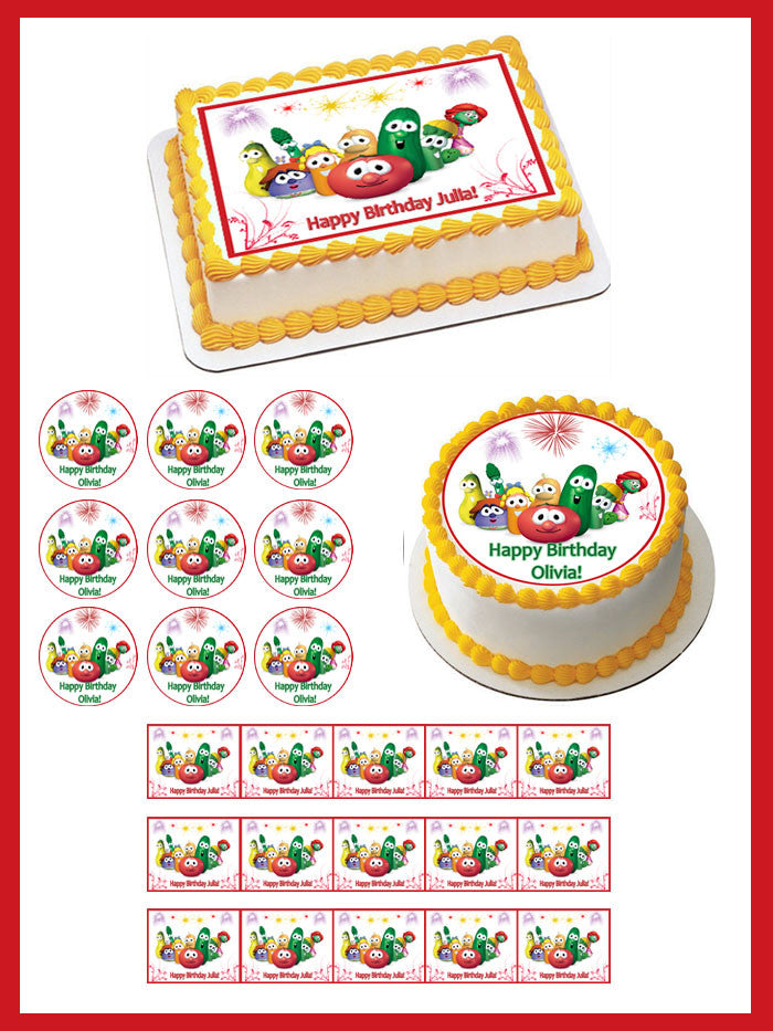 Phenomenal Veggie Tales Characters 6 Edible Cake Or Cupcake Topper Edible Funny Birthday Cards Online Elaedamsfinfo