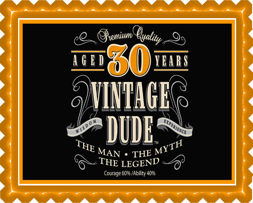 Vintage Dude 30th Edible Birthday Cake Topper OR Cupcake Topper, Decor
