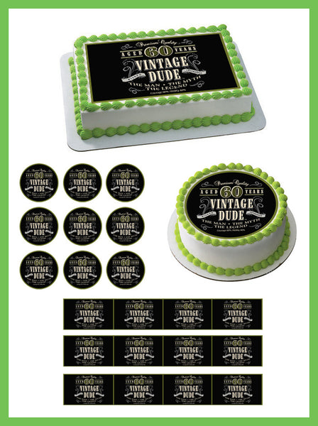 Vintage Dude 60th - Edible Cake and Cupcake Topper, Decor ...