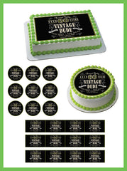 Vintage Dude 60th - Edible Cake Topper OR Cupcake Topper, Decor