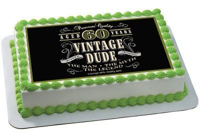 Vintage Dude 60th Edible Birthday Cake Topper OR Cupcake Decor