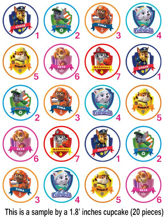 Paw Patrol Family Edible Cupcake Topper (no personalization text is possible here) - Edible Prints On Cake (Edible Cake &Cupcake Topper)