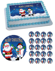 CHRISTMAS 2 Edible Birthday Cake Topper OR Cupcake Topper, Decor - Edible Prints On Cake (Edible Cake &Cupcake Topper)