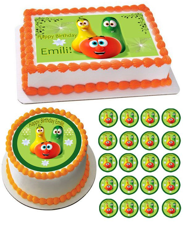 Brilliant Veggie Tales Characters 5 Edible Cake Or Cupcake Topper Edible Funny Birthday Cards Online Alyptdamsfinfo