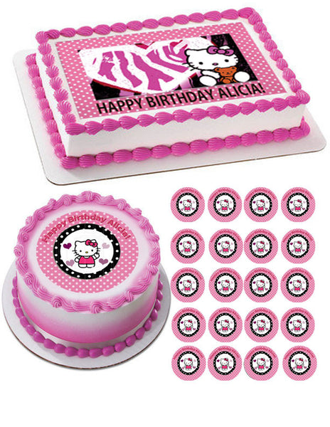 hello kitty cake topper hello kitty and edible birthday cake or cupcake 4783