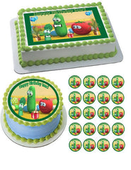 VEGGIE TALES Characters 7 Edible Birthday Cake Topper OR Cupcake Topper, Decor