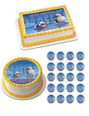 Frozen Happy Olaf Edible Birthday Cake Topper OR Cupcake Topper, Decor - Edible Prints On Cake (Edible Cake &Cupcake Topper)