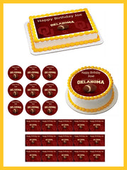 Oklahoma Sooners University Edible Birthday Cake Topper OR Cupcake Topper, Decor - Edible Prints On Cake (Edible Cake &Cupcake Topper)