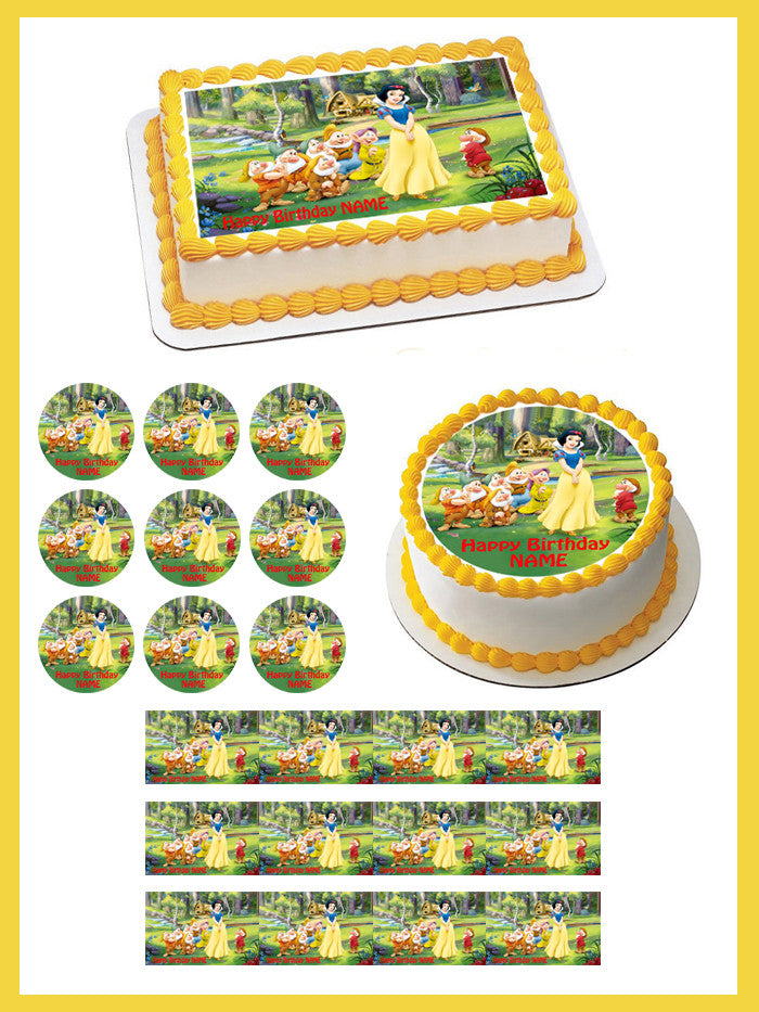 Snow White And The Seven Dwarfs Edible Birthday Cake Or Cupcake
