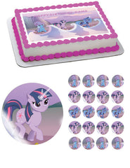 MY LITTLE PONI 3 Edible Birthday Cake Topper OR Cupcake Topper, Decor - Edible Prints On Cake (Edible Cake &Cupcake Topper)