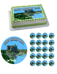 MINECRAFT Characters 8 Edible Birthday Cake Topper OR Cupcake Topper, Decor - Edible Prints On Cake (Edible Cake &Cupcake Topper)