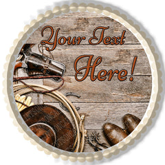 Western Cowboy Ranching Gear - Edible Cake Topper, Cupcake Toppers, Strips