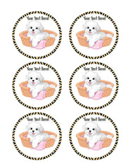 White Fluffy Dog - Edible Cake Topper, Cupcake Toppers, Strips