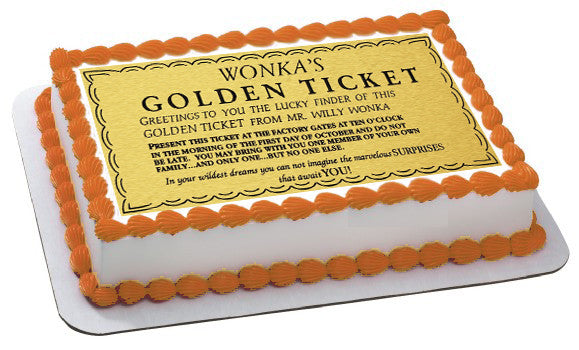 Willy Wonka Golden Ticket Edible Cake Or Cupcake Topper