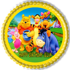 Winnie Pooh 1 Edible Birthday Cake Topper OR Cupcake Topper, Decor