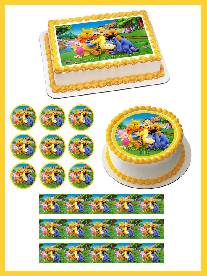 Winnie Pooh 1 Edible Birthday Cake Topper OR Cupcake Decor
