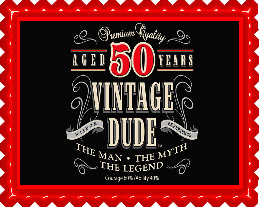 Vintage Dude 50th Edible Cake And Cupcake Topper Decor Edible