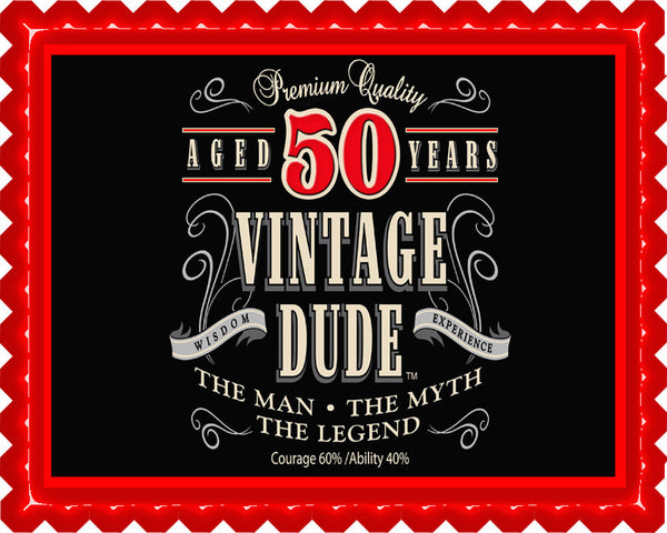 Vintage Dude 50th Edible Cake And Cupcake Topper Decor