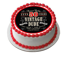 Vintage Dude 50th Edible Birthday Cake Topper OR Cupcake Topper, Decor