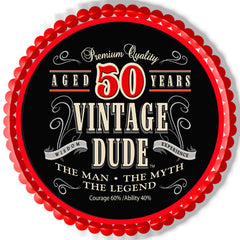 Vintage Dude 50th Edible Birthday Cake Topper OR Cupcake Topper, Decor - Edible Prints On Cake (Edible Cake &Cupcake Topper)