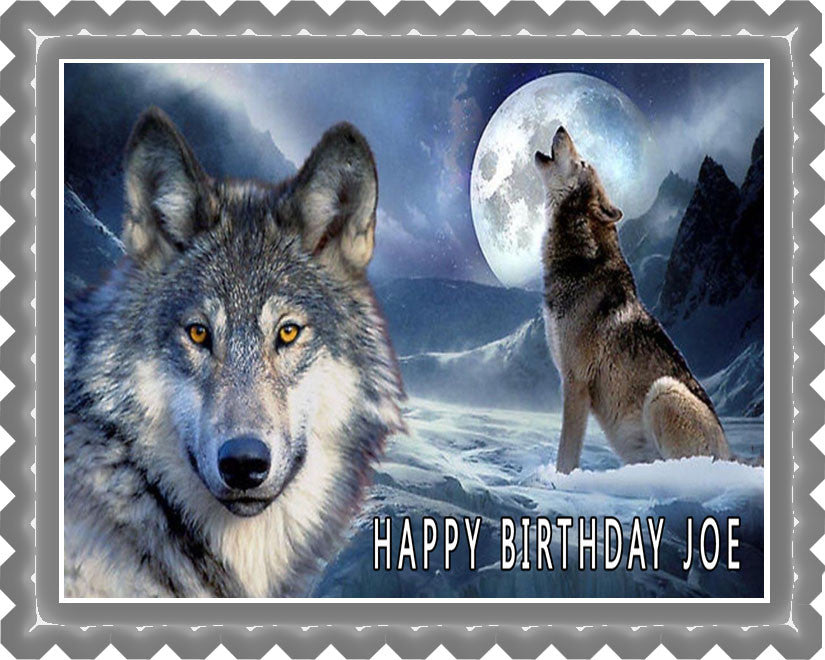 Wolf 2 Edible Birthday Cake Topper OR Cupcake Topper, Decor
