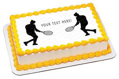 Woman tennis player silhouette - Edible Cake Topper, Cupcake Toppers, Strips
