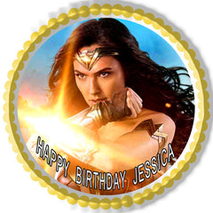 Wonder Woman 2 Edible Birthday Cake Topper OR Cupcake Topper, Decor
