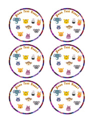 Zoo Animals faces - Edible Cake Topper, Cupcake Toppers, Strips