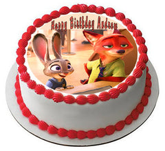 Zootopia 1 Edible Birthday Cake Topper OR Cupcake Topper, Decor