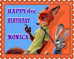 Zootopia 7 Edible Birthday Cake Topper OR Cupcake Topper, Decor