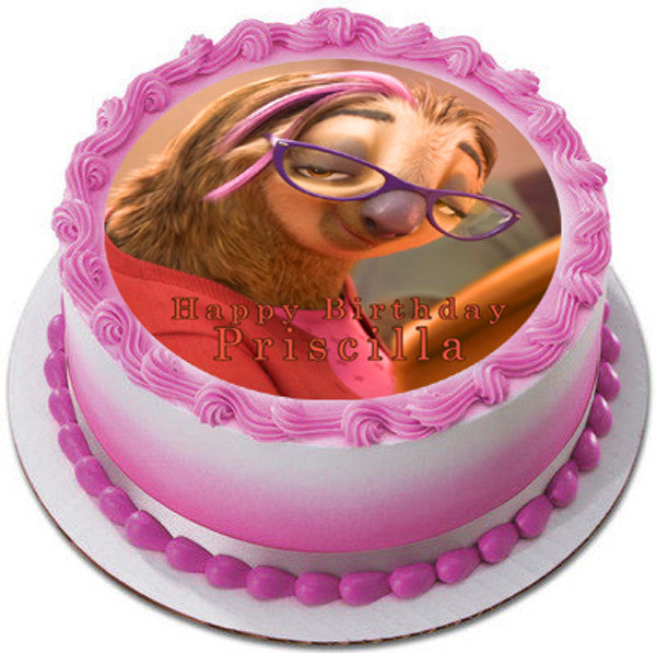 Zootopia 4 Priscilla Sloth Edible Cake Topper And Cupcake