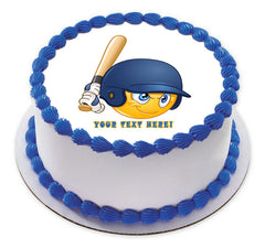 Baseball batter or hitter player emoticon - Edible Cake Topper, Cupcake Toppers, Strips