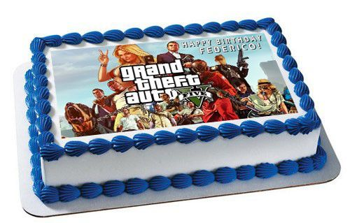 Grand Theft Auto Edible Birthday Cake Topper OR Cupcake Topper, Decor - Edible Prints On Cake (Edible Cake &Cupcake Topper)