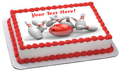 Bowling - Edible Cake Topper, Cupcake Toppers, Strips