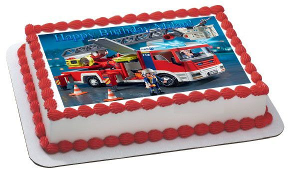 Lego Fire Truck Edible Birthday Cake Topper OR Cupcake Topper, Decor - Edible Prints On Cake (Edible Cake &Cupcake Topper)