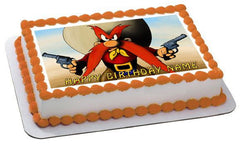 YOSEMITE SAM Edible Birthday Cake Topper OR Cupcake Topper, Decor - Edible Prints On Cake (Edible Cake &Cupcake Topper)
