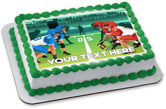 Football players vector illustration - Edible Cake Topper, Cupcake Toppers, Strips