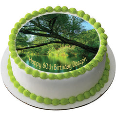 Natur - River Background Edible Birthday Cake Topper OR Cupcake Topper, Decor - Edible Prints On Cake (Edible Cake &Cupcake Topper)