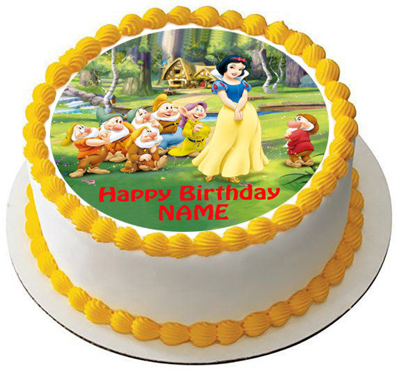 Snow White And The Seven Dwarfs Edible Birthday Cake Or