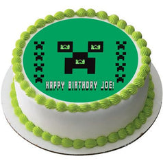Minecraft Creeper Edible Birthday Cake Topper OR Cupcake Topper, Decor - Edible Prints On Cake (Edible Cake &Cupcake Topper)