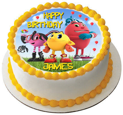 Pac Man Edible Birthday Cake Topper OR Cupcake Decor