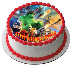 Lego Marvel Superheroes Edible Birthday Cake Topper OR Cupcake Topper, Decor - Edible Prints On Cake (Edible Cake &Cupcake Topper)