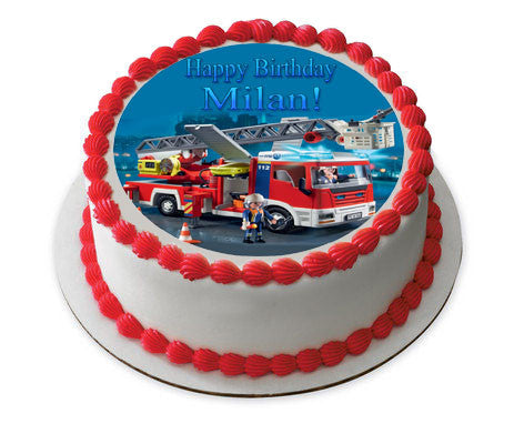 Lego Fire Truck Edible Birthday Cake Or Cupcake Topper