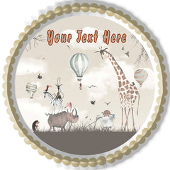 Woodland Animals with Giraffe Zebra - Edible Cake Topper, Cupcake Toppers, Strips