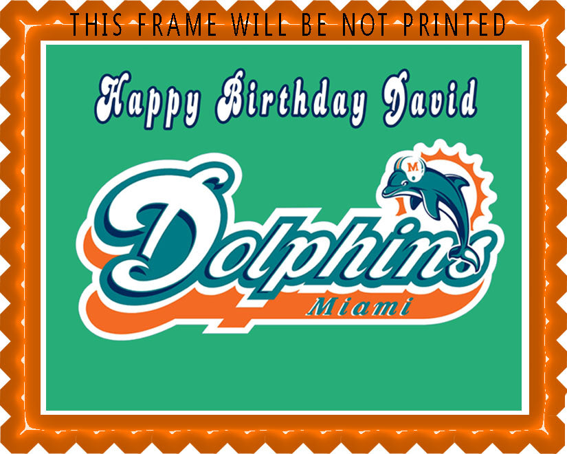 Phenomenal Miami Dolphins Edible Cake Topper Or Cupcake Topper Decor Personalised Birthday Cards Paralily Jamesorg