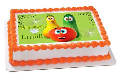 VEGGIE TALES Characters 5 Edible Birthday Cake Topper OR Cupcake Topper, Decor - Edible Prints On Cake (Edible Cake &Cupcake Topper)