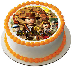INDIANA JONES LEGO Edible Birthday Cake Topper OR Cupcake Topper, Decor - Edible Prints On Cake (Edible Cake &Cupcake Topper)